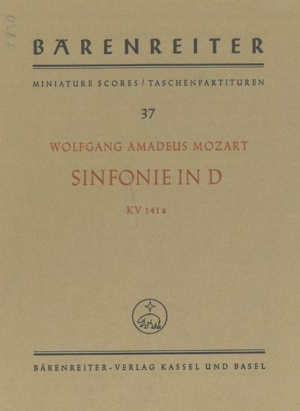 Symphony In D Major, K. 141a / edited by Wilhelm Fischer.
