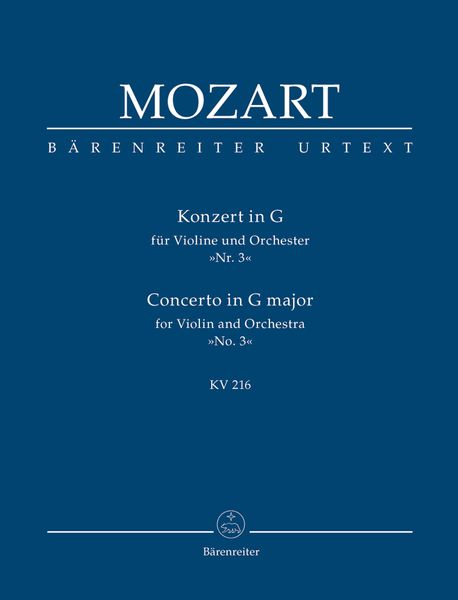Concerto No. 3 In G Major, K. 216 : For Violin and Orchestra.