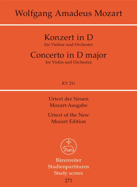 Concerto No. 2 In D Major, K. 211 : For Violin and Orchestra.