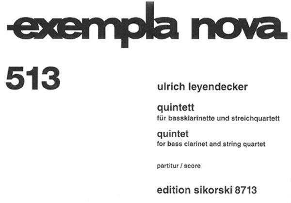 Quintet : For Bass Clarinet and String Quartet (1999/2000).