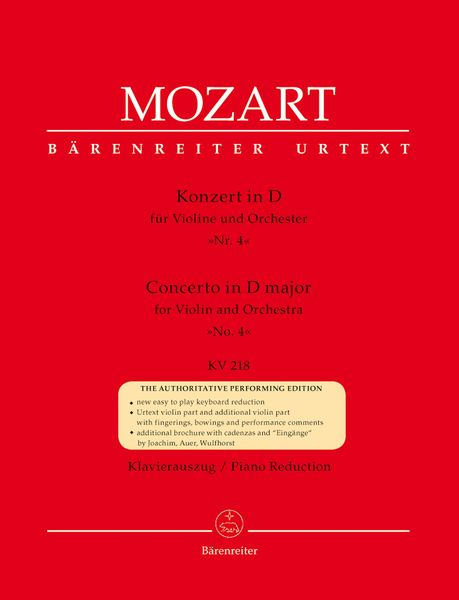 Concerto In D Major, Nr. 4, K. 218 : For Violin and Orchestra - Piano reduction.