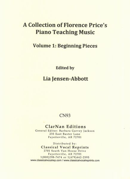 Collection of Florence Price's Piano Teaching Music, Vol. 1 : Beginning Pieces.