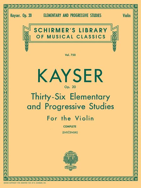Thirty-Six Elementary and Progressive Studies, Op. 20 : For Violin (Svecenski).