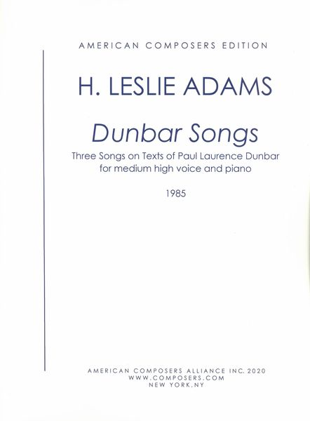 Dunbar Songs : For Medium High Voice and Piano (1981).