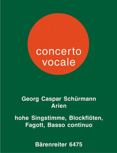 Arien : For High Voice, Recorder, Bassoon and Basso Continuo / Ed. by Nikolas Delius.
