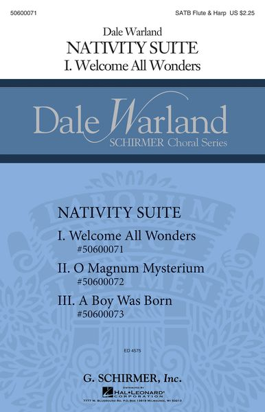 Welcome All Wonders, Nativity Suite No. 1 : For SATB With Flute and Harp.