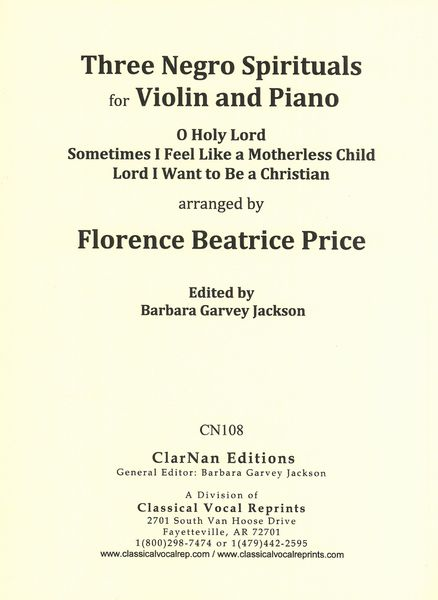 Three Negro Spirituals : For Violin and Piano / edited by Barbara Garvey Jackson.