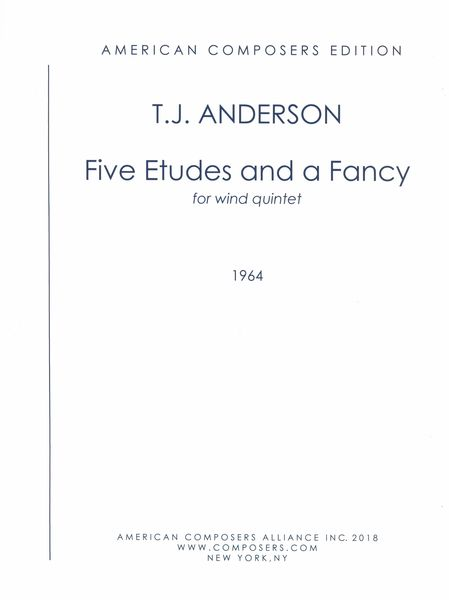 Five Etudes and A Fancy : For Wind Quintet (1964).