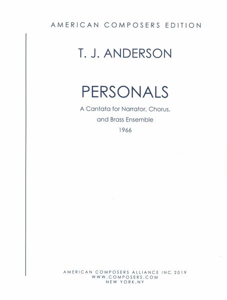 Personals : A Cantata For Narrator, Chorus and Brass Ensemble (1966).