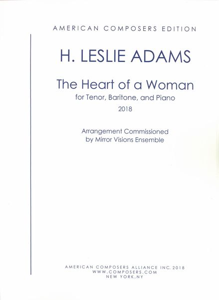 Heart of A Woman : For Tenor, Baritone and Piano (2018).