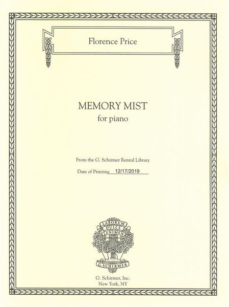 Memory Mist : For Piano (1949) / edited by John Michael Cooper.