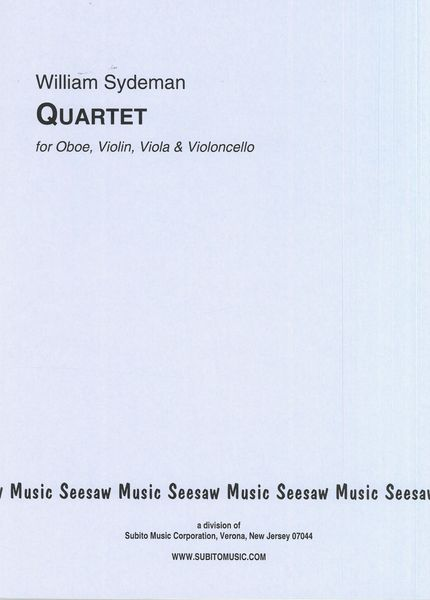 Quartet : For Oboe, Violin, Viola and Cello.