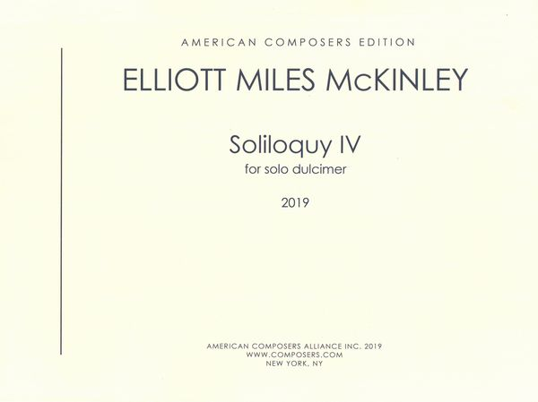 Soliloquy IV : For Solo Dulcimer (2019).