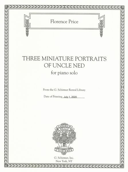Three Miniature Portraits of Uncle Ned : For Piano Solo / edited by John Michael Cooper.