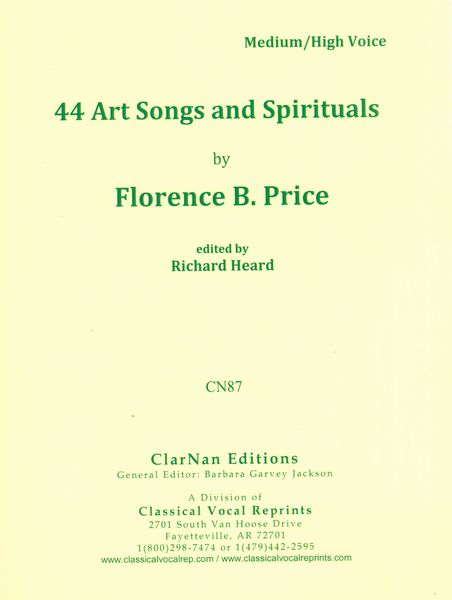 Florence Price 44 Art Songs and Spirituals Cover Art