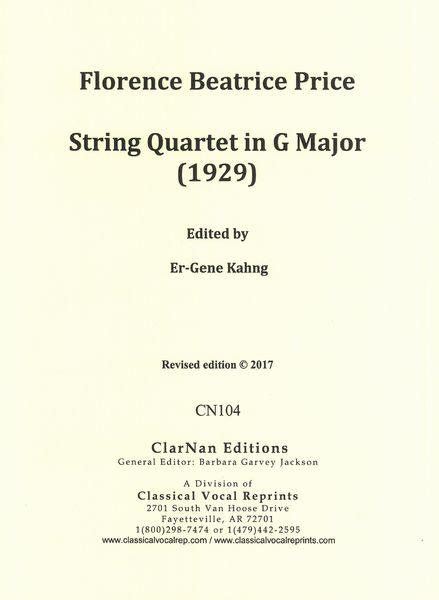 Quartet no. 1 in G major Cover Art